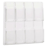 Safco 5608CL Reveal Clear 8-Compartment Wall-Mount Display Rack - 20 1/2 inch x 2 inch x 20 1/2 inch