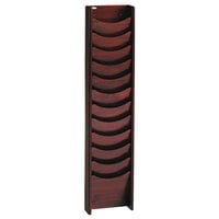 Safco 4331MH Mahogany 12 Compartment Wood Wall Mount Magazine Display Rack