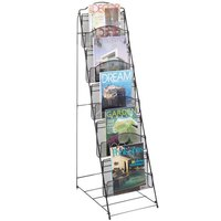 Safco 6461BL Onyx Steel Mesh 5 Compartment Magazine Display Rack