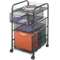 Safco 5213BL Onyx Black Mesh Mobile File Cube with Storage Drawers - 15 3/4 inch x 17 inch x 27 inch