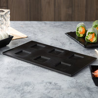Elite Global Solutions JW6TB Zen 11 inch x 6 1/2 inch Rectangular Black Melamine Ramekin Platter - 6/Case