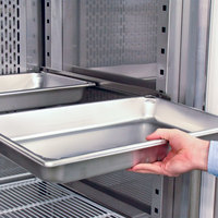 Shelf rails accept full size food pans!