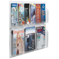 Aarco LRC106 30 inch x 23 inch Clear-Vu Combination Pamphlet and Magazine Display with 6 Pamphlet Pockets and 3 Magazine Pockets