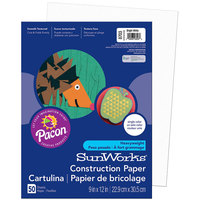 "SunWorks 8703 9"" x 12"" Bright White Pack of 58# Construction Paper - 50 Sheets"