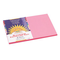 "SunWorks 7007 12"" x 18"" Pink Pack of 58# Construction Paper - 50 Sheets"