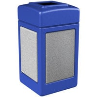 Commercial Zone 720330 StoneTec 42 Gallon Blue Open Top Trash Receptacle with Ashtone Panels
