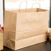 Duro Tote Natural Kraft Paper Shopping Bag with Handles 16 inch x 6 inch x 12 inch - 250/Bundle