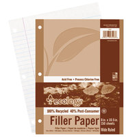 Pacon 3203 Ecology 8 inch x 10 1/2 inch White Wide Ruled 3-Hole Punch Pack of 16# Recycled Filler Paper - 150 Sheets