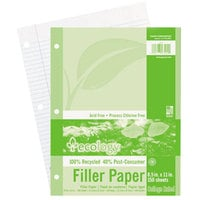 Pacon 3202 Ecology 8 1/2 inch x 11 inch White College Ruled 3-Hole Punch Pack of 16# Recycled Filler Paper - 150 Sheets