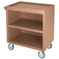 Cambro BC330 Coffee Beige Three Shelf Service Cart with Three Enclosed Sides - 33 1/8 inch x 20 inch x 34 5/8 inch