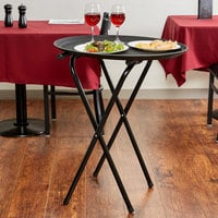Lancaster Table & Seating 19 inch x 16 1/2 inch x 31 inch Folding Black Metal Double Bar Tray Stand