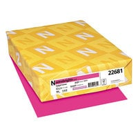 Astrobrights 22681 8 1/2 inch x 11 inch Fireball Fuchsia Ream of 24# Color Paper - 500 Sheets