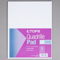 TOPS 33051 8 1/2 inch x 11 inch Quadrille Ruled White Gum-Top Writing Pad - 12/Pack