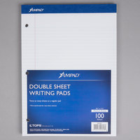 Ampad 20-323 8 1/2 inch x 11 3/4 inch College Ruled White 3-Hole Punched Writing Pad   - 6/Pack