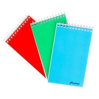 Ampad 45-093 3 inch x 5 inch Narrow Ruled White Wirebound Memo Book with Assorted Color Cover - 3/Pack