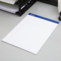 Ampad 20-320 8 1/2 inch x 11 3/4 inch Wide Ruled White Perforated Writing Pad - 12/Pack