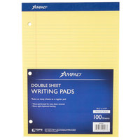 Ampad 20-223 8 1/2 inch x 11 3/4 inch Medium Ruled Canary 3-Hole Punched Writing Pad   - 6/Pack