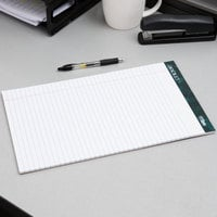 TOPS 63590 Docket 8 1/2 inch x 14 inch Wide Ruled White Perforated Writing Tablet   - 12/Pack