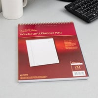 Ampad 20-815 Gold Fibre 8 1/2 inch x 11 3/4 inch Wide Ruled Perforated Wirebound Planner Pad with Navy Cover