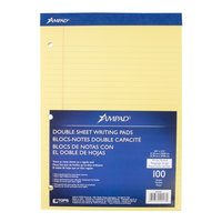 Ampad 20-243 8 1/2 inch x 11 3/4 inch Wide Ruled Canary 3-Hole Punched Writing Pad - 6/Pack