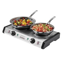 Waring WDB600 Double Burner Solid Top Countertop Range - 1800W