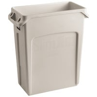 Rubbermaid 1971259 Beige 64 Qt. / 16 Gallon Slim Jim Rectangular Trash Can