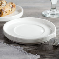 Bon Chef 1400007P Stacked Lines 5 1/2 inch White Porcelain Saucer - 36/Case