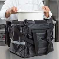 ServIt Insulated Food Delivery Bag, Black Soft-Sided Heavy-Duty Nylon with White Cold Crock, Lid and Ice Pack, 13 inch x 13 inch x 15 1/2 inch