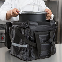 ServIt Insulated Food Delivery Bag, Black Soft-Sided Heavy-Duty Nylon with Black Cold Crock, Lid, and Ice Pack, 13 inch x 13 inch x 15 1/2 inch