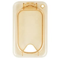 Carlisle 10539Z13 StorPlus EZ Access 1/9 Size Amber High Heat Hinged Lid with One Notch