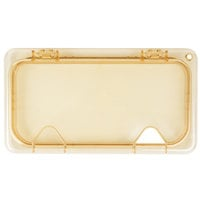 Carlisle 10479Z13 StorPlus EZ Access 1/3 Size Amber High Heat Hinged Lid with One Notch