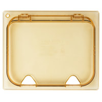 Carlisle 10440Z13 StorPlus EZ Access 1/2 Size Amber High Heat Hinged Lid with Two Notches