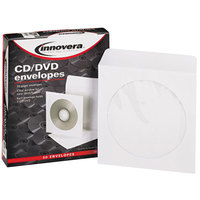 Innovera 39403 5 inch x 5 inch White CD / DVD Sleeve - 50/Pack