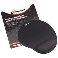 Innovera 50448 Black Mouse Pad with Gel Wrist Rest