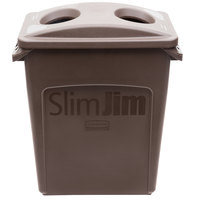 Rubbermaid Slim Jim 16 Gallon Brown Rectangular Trash Can with 2 Hole Lid