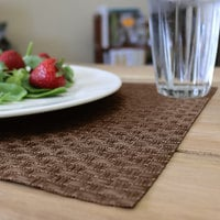 H. Risch, Inc. GA-4003 16 inch x 12 inch Brown Woven Vinyl Rectangle Placemat - 12/Pack