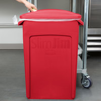 Rubbermaid Slim Jim 23 Gallon Red Rectangular Trash Can with 2 Hole Lid