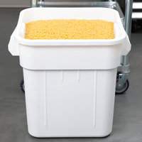 Continental 2800WH Huskee 32 Gallon White Square Ingredient Bin / Trash Can
