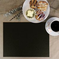 H. Risch Inc. PLACEMATDX-CHBLACK Chesterfield 16 inch x 12 inch Black Premium Sewn Faux Leather Rectangle Placemat