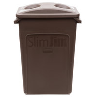 Rubbermaid Slim Jim 23 Gallon Brown Rectangular Trash Can with 2 Hole Lid