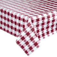 Intedge 52 inch x 52 inch Burgundy Checkered Gingham Vinyl Table Cover with Flannel Back