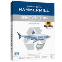 Hammermill 86790 Great White 8 1/2 inch x 11 inch White Case of 20# 100% Recycled Copy Paper - 5000 Sheets