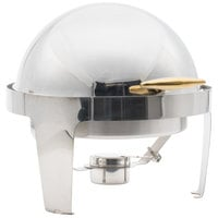 Choice Supreme 6.5 Qt. Round Gold Accent Roll Top Chafer