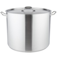 Vigor 80 Qt. Heavy-Duty Stainless Steel Aluminum-Clad Stock Pot with Cover