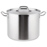 Vigor 24 Qt. Heavy-Duty Stainless Steel Aluminum-Clad Stock Pot with Cover