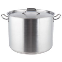 Vigor 40 Qt. Heavy-Duty Stainless Steel Aluminum-Clad Stock Pot with Cover