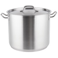 Vigor 32 Qt. Heavy-Duty Stainless Steel Aluminum-Clad Stock Pot with Cover