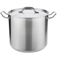 Vigor 20 Qt. Heavy-Duty Stainless Steel Aluminum-Clad Stock Pot with Cover