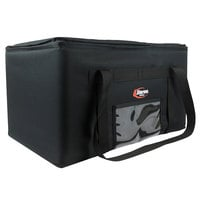 Sterno 70508 Black Small Catering Insulated Food Carrier, 14 1/2 inch x 14 1/2 inch x 14 inch - Holds (3) 1/2 Size Food Pans