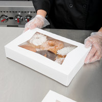 Baker's Mark 12 inch x 8 inch x 2 1/4 inch White Auto-Popup Window Donut / Bakery Box - 10/Pack